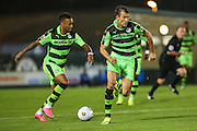 Forest Green Rovers Keanu Marsh-Brown (7) and Forest Green Rovers Christian Dioge (9) on the break during the Vanarama National League match between Forest Green Rovers and Eastleigh at the New Lawn, Forest Green, United Kingdom on 13 September 2016. Photo by Shane Healey.