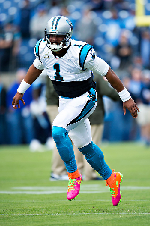 NASHVILLE, TN - NOVEMBER 15:  Cam Newton #1 of the Carolina Panthers runs onto the field before a game against the Tennessee Titans at Nissan Stadium on November 15, 2015 in Nashville, Tennessee.  (Photo by Wesley Hitt/Getty Images) *** Local Caption *** Cam Newton