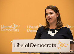 © Licensed to London News Pictures. 20/07/2017. London, UK. Newly elected deputy Liberal Democrat party Jo Swinson talks to supporters. Tim Farron stepped down after the general election.  Photo credit: Peter Macdiarmid/LNP