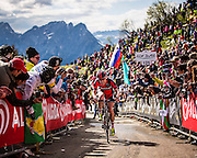 Cadel Evans using every ounce of strength on the brutally steep climb of Mont Zoncolan. <br />