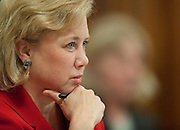 May 18,2010 - Washington, District of Columbia USA - Senator Mary Landrieu listens to Interior Secretary Ken Salazar and members of his oil spill response team, testify before a Senate Energy and Natural Resources Committee hearing on offshore oil and gas exploration including the accident involving the Deepwater Horizon in the Gulf of Mexico.(Credit Image: © Pete Marovich/ZUMA Press)