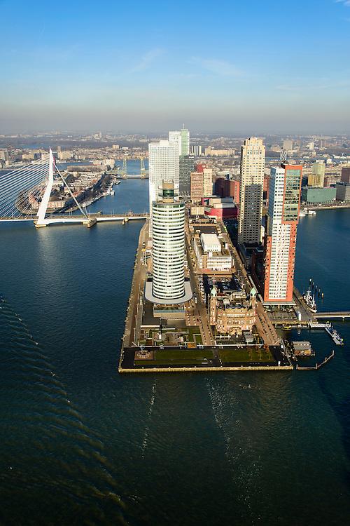 Nederland, Zuid-Holland, Rotterdam, 18-02-2015; Kop van Zuid met links de Erasmusbrug en het Noordereiland. In de voorgrond rivier de Nieuwe Maas, rechts van de Wilhelminapier de Rijnhaven. Op de Wilhelminakade Hotel New York tussen de torens van Montevideo (rechts) en het World Port Center (Havenbedrijf Rotterdam).<br /> Verder o.a. De Rotterdam en New Orleans. <br /> Newly developed cultural center Kop van Zuid, urban renewal and modern architecture, high rise in a former harbour area<br /> luchtfoto (toeslag op standard tarieven);<br /> aerial photo (additional fee required);<br /> copyright foto/photo Siebe Swart
