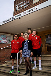 WREXHAM, WALES - Wednesday, June 5, 2019: Glyndwr University Vice-Chancellor Dr Maria Hinfelaar (C) with Wales' Neil Taylor, Joe Allen,  Will Vaulks and Jonathan Williams at Glyndwr University ahead of the UEFA Euro 2020 Qualifying Group E match between Croatia and Wales. (Pic by David Rawcliffe/Propaganda)