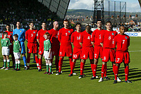 Photo: Andrew Unwin.<br />Northern Ireland v Wales. World Cup Qualifier.<br />08/10/2005.<br />The Welsh team turns to face their fans as their national anthem is played.
