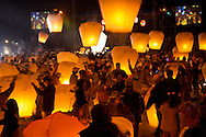 "In Pingsi, Taiwan, thousands of people fly ""Sky Lanterns"" on the 15th day of the new lunar year.  With the launcher's hopes and dreams written on the lantern, it is said that the higher the lantern goes, the closer it will come to God, and the better the chances that the wish will come true."