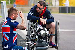 Queen Elizabeth Olympic Park, London. September 13th 2014. Pipped at the post thanks to a puncture,  IHB2 Hand bike silver medalist Joseph Townsend catches his breath as wounded servicemen and women from 13 different countries compete for sporting glory during the cycling competition at the Invictus Games.