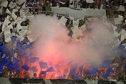 30.07.2015, Stadion Poljud, Split, CRO, UEFA EL, Hajduk Split vs Stroemsgodset IF, Qualifikation, 3. Runde, Hinspiel, im Bild Übersicht auf das Stadion, Fans, Choreographie, Bengalische Feuer, Bengalen, Pyrotechnik, Pyro // during the UEFA Europa League Qualifier 3rd round, 1st Leg Match between Hajduk Split and Stroemsgodset IF at the Stadion Poljud in Split, Croatia on 2015/07/30. EXPA Pictures © 2015, PhotoCredit: EXPA/ Pixsell/ Ivo Cagalj<br /> <br /> *****ATTENTION - for AUT, SLO, SUI, SWE, ITA, FRA only*****