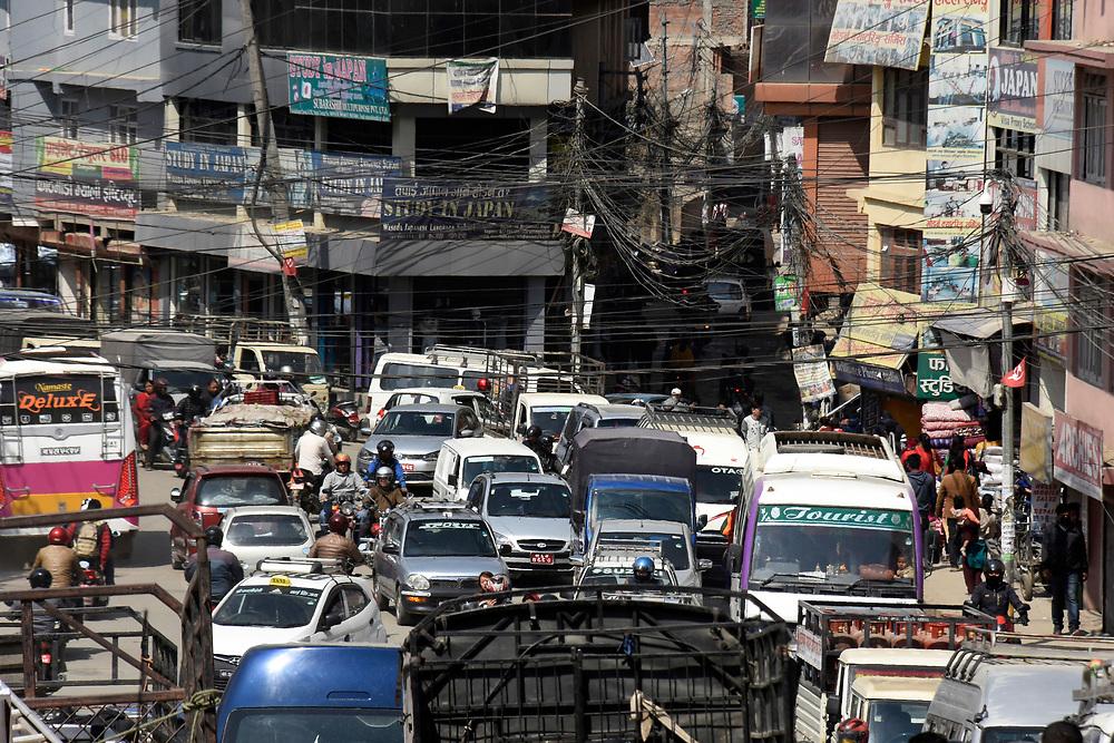 Rush hour traffic in Kathmandu, Nepal