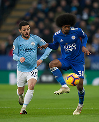 Bernardo Silva of Manchester City (L) and Hamza Choudhury of Leicester City in action - Mandatory by-line: Jack Phillips/JMP - 26/12/2018 - FOOTBALL - King Power Stadium - Leicester, England - Leicester City v Manchester City - English Premier League