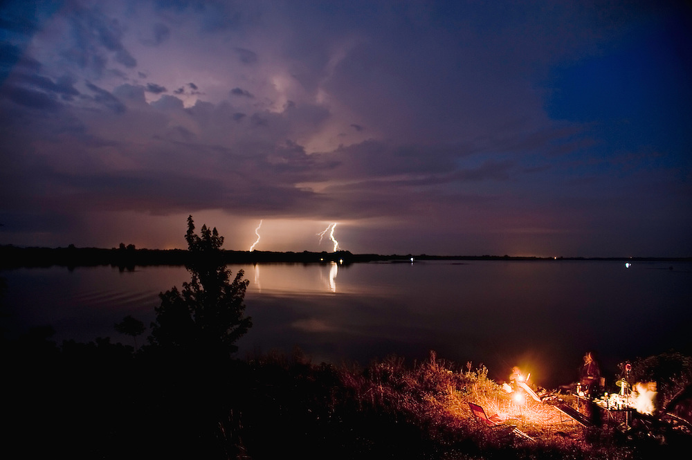 Stormy weather in the Tisza lake with group of fishermen, Hortobagy National Park, Hungary