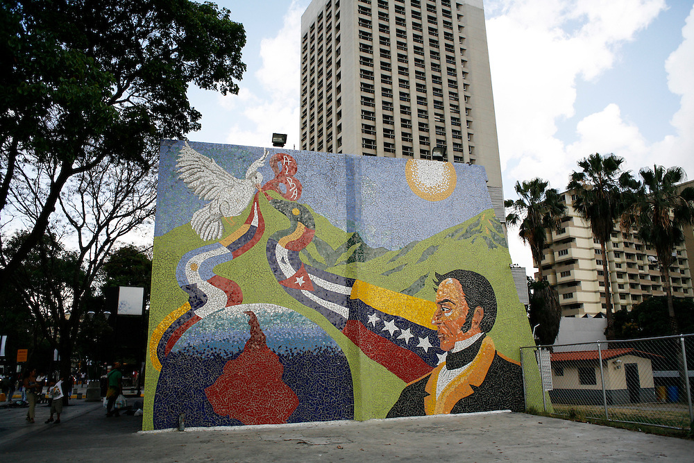 A mural showing Simon Bolivar in downtown Caracas.