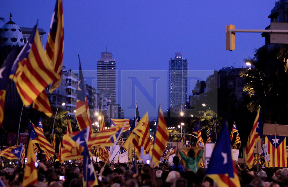 © Licensed to London News Pictures. 11/11/2017. Barcelona, Spain.  <br /> A large demonstration held today 11th November 2017on Career de la Marina, Barcelona, to protest against the recent imprisonment of 8 elected members of Parliament and two civilian movement leaders since the Government in Madrid imposed the article 155, which ceased the powers of the elected Autonomous Catalan government after they declared independence from Spain due to a referendum deemed anti constitutional by Madrid.<br /> Photo credit: Rich Bowen/LNP