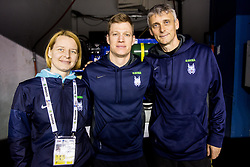 Natasa Miksa and Jure Ferjanic, physiotherapists and Milan Dragan during practice session of Team Slovenia at the 2017 IIHF Men's World Championship, on May 8, 2017 in Accorhotels Arena in Paris, France. Photo by Vid Ponikvar / Sportida