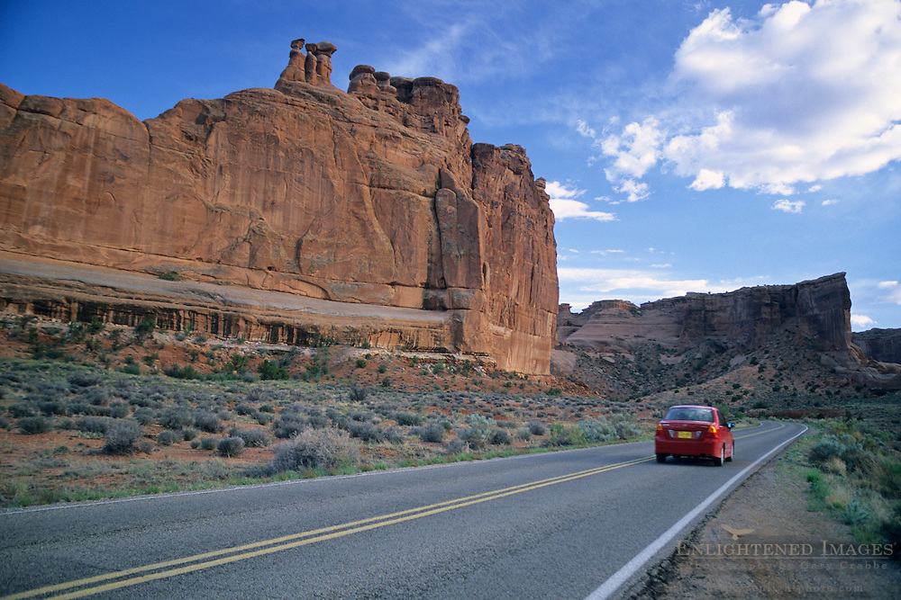 Sandstone formations along park road near Park Avenue Arches National Park, UTAH
