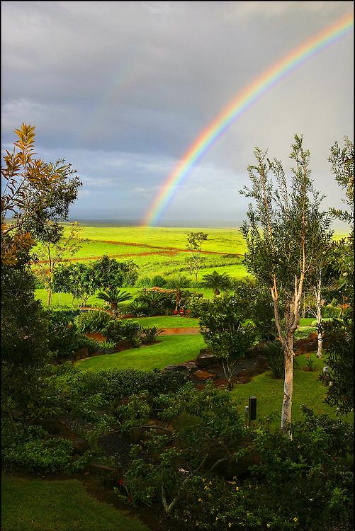 Molokai rainbow in Maunaloa Town. Molokai, Hawaii..©PF BENTLEY/PFPIX.COM