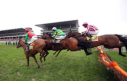 Quel Destin ridden by Harry Cobden, Sir Erec ridden by Mark Walsh, and Coeur Sublime ridden by Davy Russell during the JCB Triumph Hurdle during Gold Cup Day of the 2019 Cheltenham Festival at Cheltenham Racecourse.