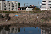 The camp of a homeless person on the banks of the Tsurumi River near Kamoi, Kanagawa, Japan Monday February 20th 2012