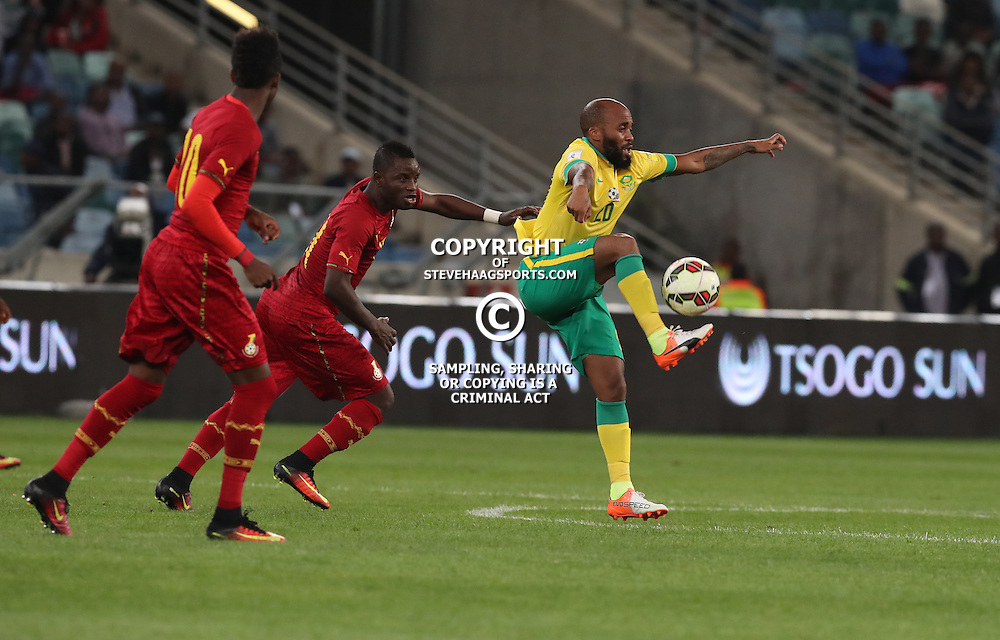 Oupa Manyisa of South Africa on the ball during the international friendly match between South Africa ( Bafana Bafana ) and Ghana at the Moses Mabhida stadium in Durban, South Africa on the 11th October 2016<br /> <br /> Photo by:   Steve Haag / Real Time Images