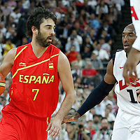 12 August 2012: Spain Juan-Carlos Navarro drives past USA Kobe Bryant during 107-100 Team USA victory over Team Spain, during the men's Gold Medal Game, at the North Greenwich Arena, in London, Great Britain.
