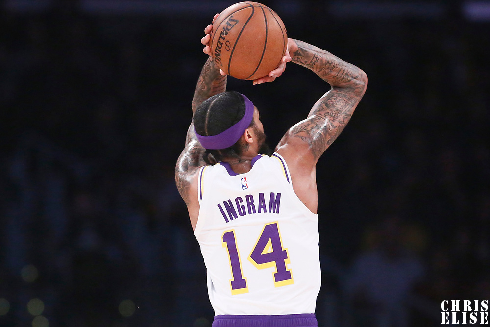 LOS ANGELES, CA - JAN 27: Brandon Ingram (14) of the Los Angeles Lakers shoots the ball during a game on January 27, 2019 at the Staples Center in Los Angeles, California.