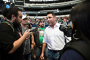 Oscar De La Hoya visits with the media after the weigh-ins at AT&T Stadium in Arlington, Texas on September 16, 2016.  (Cooper Neill for ESPN)
