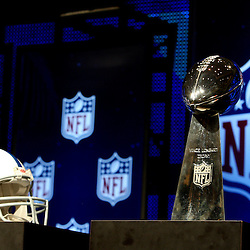 Feb 05, 2010;  Fort Lauderdale, FL, USA; Indianapolis Colts helmet on display with the Vince Lombardi Trophy during press conferences at the Super Bowl XLIV media center at the Fort Lauderdale/Broward County Convention Center. Mandatory Credit: Derick E. Hingle