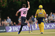 Middlesex bowler Toby Roland-Jones celebrates the wicket of Hampshire t20 captain all-rounder Sean Ervine <br /> during the NatWest T20 Blast South Group match between Middlesex County Cricket Club and Hampshire County Cricket Club at Uxbridge Cricket Ground, Uxbridge, United Kingdom on 27 May 2016. Photo by David Vokes.
