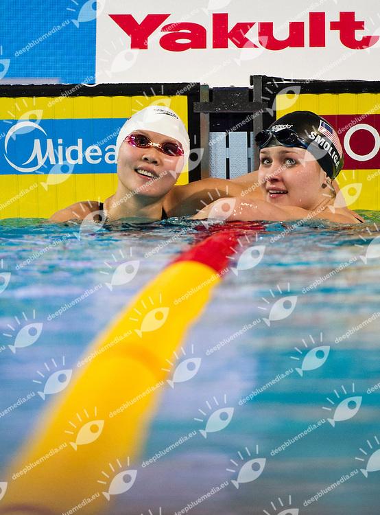ZHAO Jing CHN Gold Medal   CR.SMOLIGA Olivia USA.Women 50m Backstroke.FINA World Short Course Swimming Championships.Istanbul Turkey 12 - 16 Dec. 2012.Day 05.Photo G.Scala/Deepbluemedia/Inside