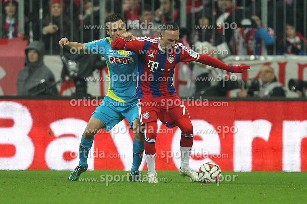 27.02.2015, Allianz Arena, Muenchen, GER, 1. FBL, FC Bayern Muenchen vs 1. FC K&ouml;ln, 23. Runde, im Bild l-r: im Zweikampf, Aktion, mit Slawomir Peszko #17 (1. FC Koeln) und Franck Ribery #7 (FC Bayern Muenchen) // during the German Bundesliga 23rd round match between FC Bayern Munich and 1. FC K&ouml;ln at the Allianz Arena in Muenchen, Germany on 2015/02/27. EXPA Pictures &copy; 2015, PhotoCredit: EXPA/ Eibner-Pressefoto/ EXPA/ Kolbert<br /> <br /> *****ATTENTION - OUT of GER*****