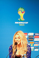 Shakira, who performs during the final ceremony tomorrow, during the FIFA Daily Press Conference at Maracana Stadium, Rio de Janeiro.<br /> Picture by Andrew Tobin/Focus Images Ltd +44 7710 761829<br /> 12/07/2014
