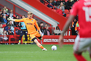 AFC Wimbledon goalkeeper George Long (1) clearing the ball during the EFL Sky Bet League 1 match between Charlton Athletic and AFC Wimbledon at The Valley, London, England on 28 October 2017. Photo by Matthew Redman.