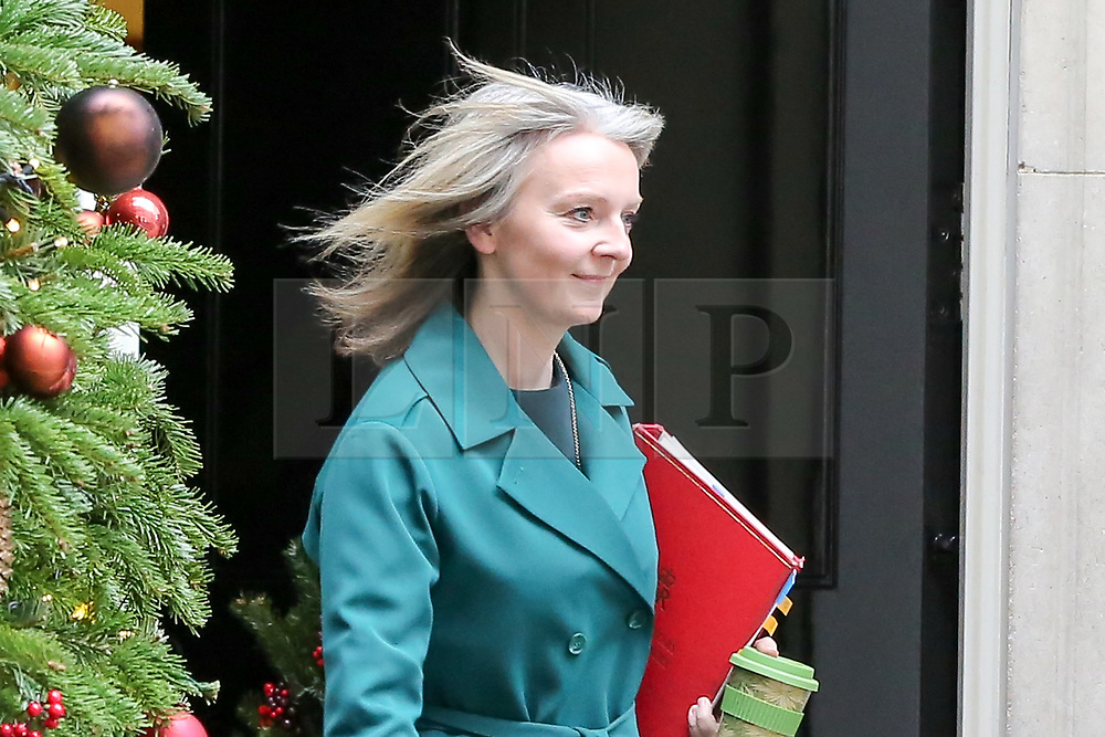 "© Licensed to London News Pictures. 18/12/2018. London, UK. Liz Truss - Chief Secretary to the Treasury departs from No 10 Downing Street after attending the weekly Cabinet Meeting that discussed the preparations for a ""No Deal"" Brexit. Photo credit: Dinendra Haria/LNP"