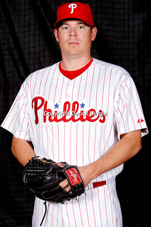 February 22, 2011; Clearwater, FL, USA; Philadelphia Phillies pitcher Brian Bass ((55) poses during photo day at Bright House Networks Field. Mandatory Credit: Derick E. Hingle