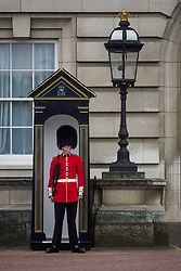 © Licensed to London News Pictures. 04/05/2017. London, UK. A member of the Queens Guard at Buckingham Palace, the home of Queen Elizabeth II, where an emergency meeting of staff has reportedly been called. An announcement by the Palace is is expected this morning.  Photo credit: Ben Cawthra/LNP