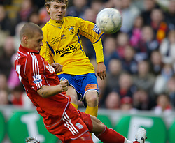 LIVERPOOL, ENGLAND - Saturday, January 26, 2008: Liverpool's Martin Skrtel can't prevent Havant and Waterlooville's Alfie Potter scoring the second goal during the FA Cup 4th Round match at Anfield. (Photo by David Rawcliffe/Propaganda)