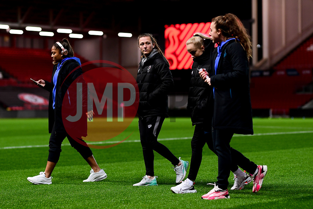 Everton Women and Bristol City Women chat on the pitch prior to kick off - Mandatory by-line: Ryan Hiscott/JMP - 17/02/2020 - FOOTBALL - Ashton Gate Stadium - Bristol, England - Bristol City Women v Everton Women - Women's FA Cup fifth round