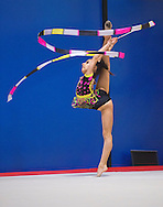 US National team member and Olympic hopeful Nicole Kaloyanov of Woodbridge, Va./Gymnastics World during her ribbon routine.(Alan Lessig Photography)