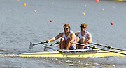 Poznan, POLAND,   GBR M2X, Bow,  Matt WELLS and Steve ROWBOTHAM, competing in the heats of the men's double sculls, on the first day of the, 2009 FISA World Rowing Championships. held on the Malta Rowing lake, Sunday 23/08/2009 [Mandatory Credit. Peter Spurrier/Intersport Images]
