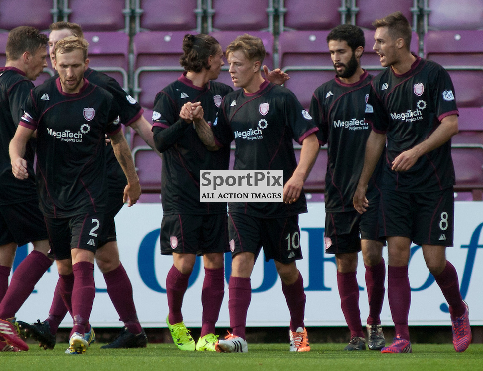 David Gold celebrates scoring for Arbroath in the Hearts v Arbroath Scottish League Cup at Tynecastle Stadium, Edinburgh. <br />