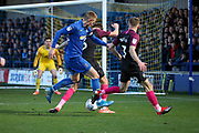 AFC Wimbledon striker Joe Pigott (39) shoots at goal during the EFL Sky Bet League 1 match between AFC Wimbledon and Peterborough United at the Cherry Red Records Stadium, Kingston, England on 18 January 2020.