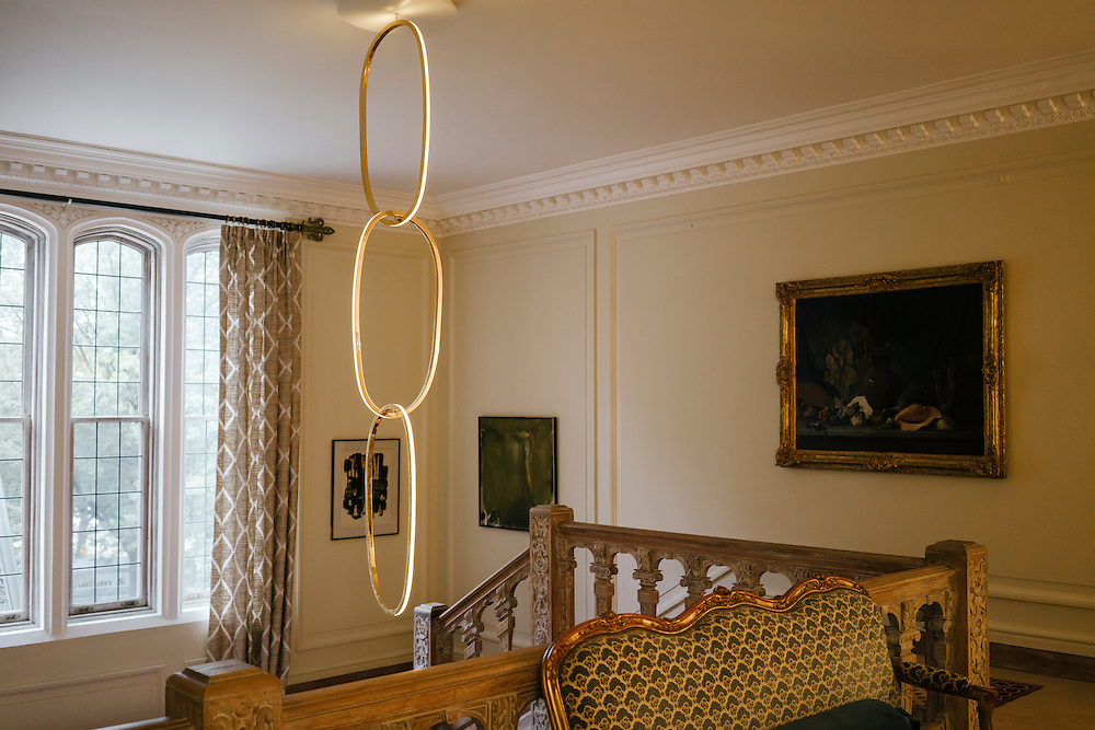 Chandelier Regency, by Carrie Livingston,  bought by the Ambassador in New York City above the entrance to the French Ambassador's residence in the Kalorama neighborhood of Washington D.C. France acquired the residence in 1936.