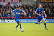 AFC Wimbledon striker Andy Barcham (17) and AFC Wimbledon defender Sean Kelly (22) on the attack during the EFL Sky Bet League 1 match between AFC Wimbledon and Peterborough United at the Cherry Red Records Stadium, Kingston, England on 17 April 2017. Photo by Matthew Redman.