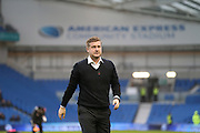 Milton Keynes Dons manager Karl Robinson during the Sky Bet Championship match between Brighton and Hove Albion and Milton Keynes Dons at the American Express Community Stadium, Brighton and Hove, England on 7 November 2015.