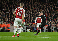 Football - 2018 / 2019 UEFA Europa League - Round of Sixteen, Second Leg: Arsenal (1) vs. Rennes (3)<br /> <br /> Benjamin Bourigeaud (Rennes FC) tries his luck at the Arsenal goal from distance at The Emirates.<br /> <br /> COLORSPORT/DANIEL BEARHAM