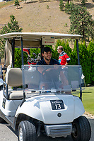 KELOWNA, CANADA - JULY 21: Alumni Rodney South drives a golf cart at the Kelowna Rockets Alumni golf tournament at Black Mountain Golf Club in Kelowna, British Columbia, Canada.  (Photo by Marissa Baecker/Shoot the Breeze)  *** Local Caption ***