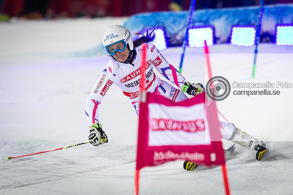 STOCKHOLM, SWEDEN - February 23th 2016:<br /> <br /> Nastasia Noence of France competes in a parallel slalom race during the 2016 Audi FIS Ski World Cup at Hammarbybacken in Stockholm, Sweden on February 23th 2016. (Photo: Michael Campanella)