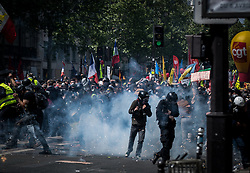 May 1, 2019 - Paris, France - People protest during the annual May Day protests on May 01, 2019 in Paris, France. More than 7,400 police and security forces have been deployed in the city to prevent a repeat of the violence and disorder seen in 2018. (Credit Image: © Estelle Ruiz/NurPhoto via ZUMA Press)