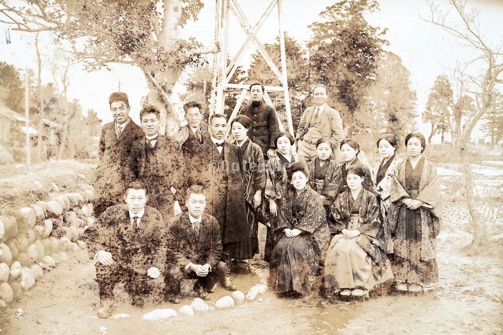 deteriorating school group portait Japan ca 1930s