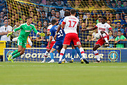 Rotherham United attacker Freddie Ladapo (10) scoring goal to make it 0-1 during the EFL Sky Bet League 1 match between AFC Wimbledon and Rotherham United at the Cherry Red Records Stadium, Kingston, England on 3 August 2019.