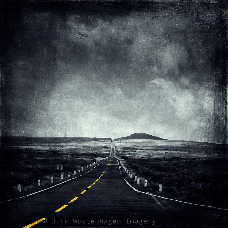 Road through the Paul da Serra plain on Madeira/Portugal. As it was still quite early there were no cars or people around. Monochrome conversion with texture layer.